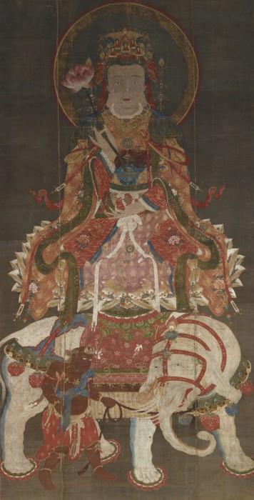 伝 張思恭「文殊・普賢菩薩像」 元時代・14世紀 (普賢 左)