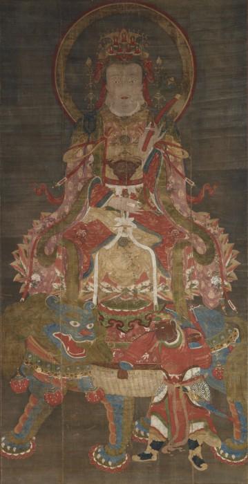 伝 張思恭「文殊・普賢菩薩像」 元時代・14世紀 (文殊 右)
