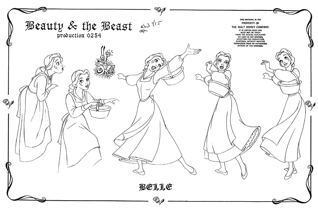 (H)「美女と野獣」ベル モデルシート(1991年)